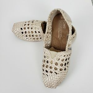 TOMS Loafers Girls Kids Shoes Beige Classic Slip O